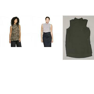 NWT Prologue Women/'s Sleeveless Mock Neck Chiffon Blouse Top Solid or Pattern