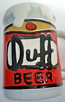 The Simpsons~DUFF BEER~Kinnerton Ceramic Mug~Collectable~2005~Bright Colours~Fun