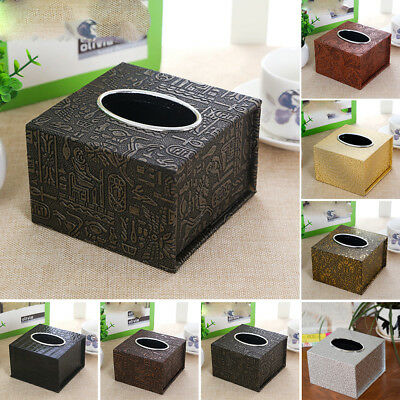 AU Inner Car Practical Tissue Holder Square Box Waterproof Home PU Leather Decor