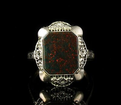 Art Deco Vintage Estate Natural Bloodstone Solid 14K White Gold Filigree Ring