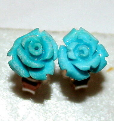 Vintage 925 Silver Natural Turquoise Rose Flower Hand Carved Fine Stud Earrings