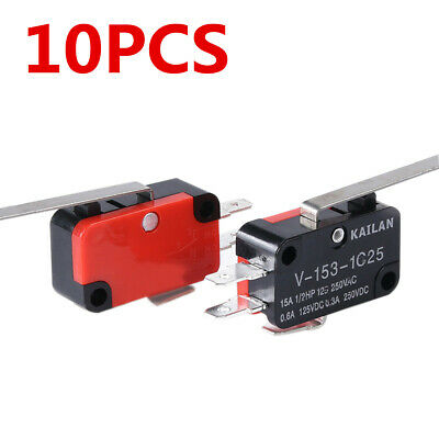 10Pcs V-153-1C25 Limit Switch Long Straight Hinge Lever Type SPDT Micro Switches