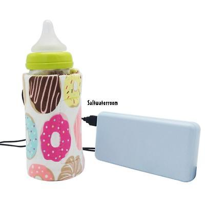 USB Portable Travel Baby Feeding Bottle Warmer Bag Heated Cover TXGT