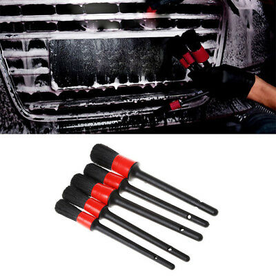 5Pcs Natural Boar Hair Detail Brush Auto Detailing Brushes Set Car Cleaning Tool