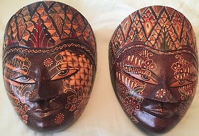 Unique Vintage Pair Of Hanging Masks Of Ramayana/Rhama And Shinta/Sita From Java