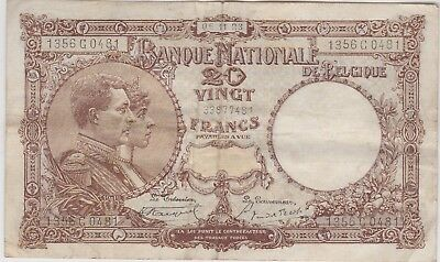 P94 Belgium 20 Francs Dated 1923 In Near Very Fine Condition