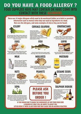 FOOD ALLERGY A4 210 x 297mm 400g Laminated POSTER/ SIGN- PUBS / CAFES etc