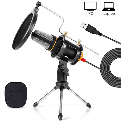 Pro Audio Studio Recording Condenser Microphones Systems w/Tripod Stand for Game