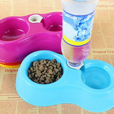 Pet Dog Cat Automatic Food Supply 2 in 1 Bowl Bottle Drinking Feeding Bowls Eage