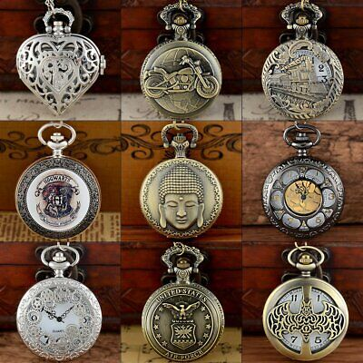 Steampunk Quartz Vintage Antique Design Pocket Watch Necklace Pendant Gift Retro