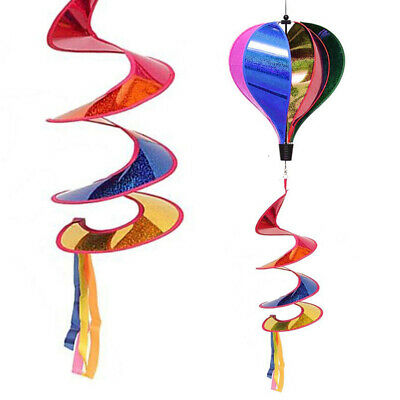Hot Air Balloon Wind Spinner Rainbow Striped Sequins Windsock Outdoor Decor#USA