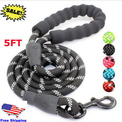 5FT Strong Dog Leash Climbing Rope Reflective Thread Night Safe Padded Handle GW