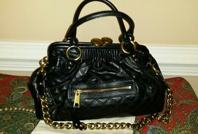 Marc Jacobs Collection Black Quilted Leather Stam Bag Gold Chain Satchel Handbag