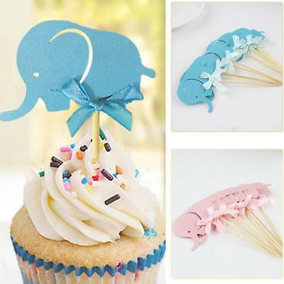 10x  Elephant Cake Toppers/Birthday/Christening/Baby Shower/Party/Baking