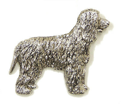 Irish Water Spaniel Brooch, Silver Plated