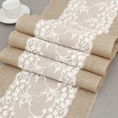 30x275cm  Table Runners Lace Runner Natural Burlap Rustic Wedding Jute.