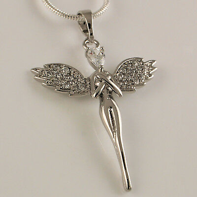 18ct White Gold Filled Guardian Angel Wings Crystals Pendant Necklace Chain N3