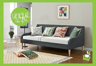 Stunning New Fabric Upholstered 3ft single Grey Linen Daybed + Mattress single