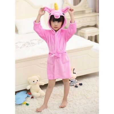 Girls Unicorn 3D Animal Cerise Bathrobe Dressing Gown Fleece Night Loungewear