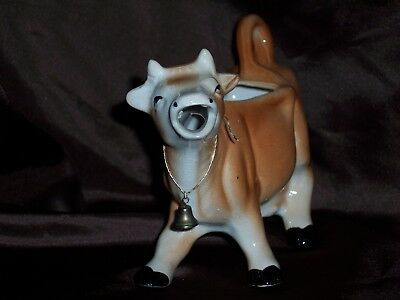 Vintage Light Brown Tan White Ceramic Cow Milk Creamer with Handle and Bell
