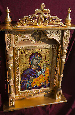 Icon Shrine Mary & Jesus Handmade Carved Greek Christian Orthodox Catholic