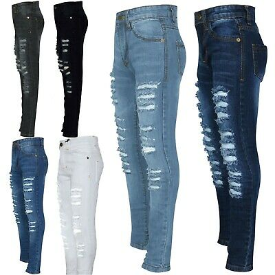 Kids Girls Skinny Denim Jeans Ripped Stretchy Fashion Pants Jeggings 3-14 Years
