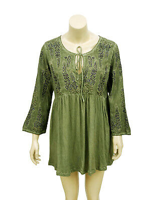 8318b57d9d2 3634 Anthropologie Meadow Rue Green Embroidered Tie Front Cotton Tunic Top  L US