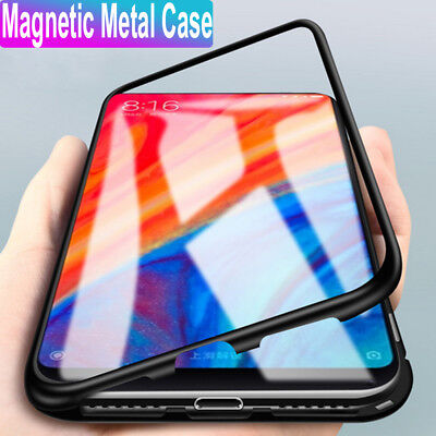 Magnetic Adsorption Metal Tempered Glass Case Cover For Xiaomi 8 8se Redmi 6A