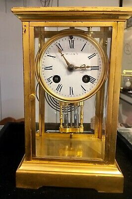 8 Day Tiffany & Co. French Four Glass Mercury Pendulum Clock Signed Japy Freres