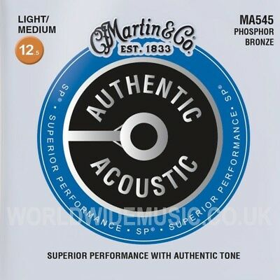 Martin MA545 Authentic Acoustic Guitar Strings Phos Bronze Light Medium 12.5 -55