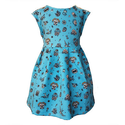 Metallimonsters Blue Tattoo flash kids dress alternative goth metal punk rock
