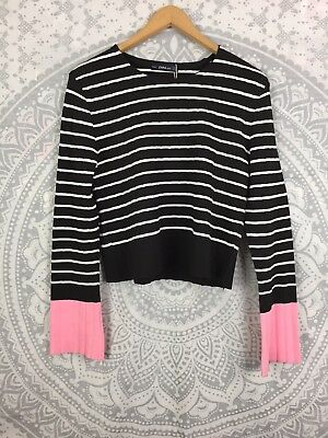 *BNWT* RRP £26 Women's Zara Knit Jumper Top Striped Black White Pink UK Large