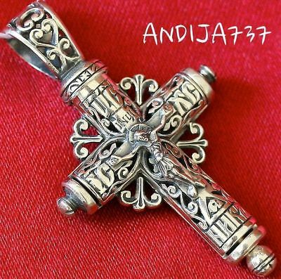 Tube Shape Christian Save & Protect Prayer Crucifix Silver 925 Russian Orthodox