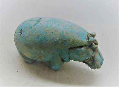 Beautiful Ancient Egyptian Glazed Faience Hippopotamus Statuette