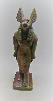Scarce Ancient Egyptian Stone Statuette Of Anubis