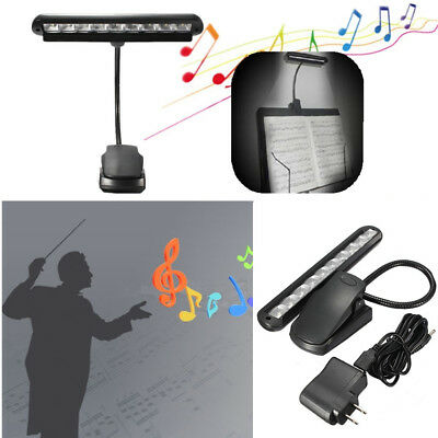Super Bright 10LED Flexible Clip-on Music Stand Read Light Bed Table Desk Lamp