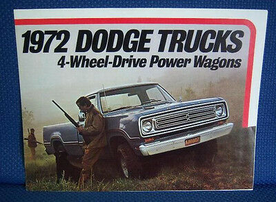 1972 DODGE 4-Wheel Drive Power Wagon Truck Brochure - New Old Stock
