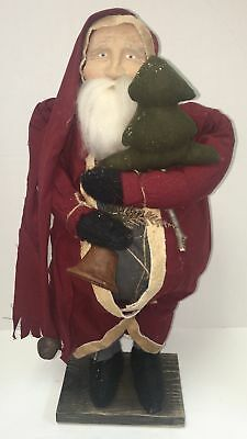 "Arnett's Country Store Primitive Santa W/ Xmas Tree & Bell  23"" Tall"
