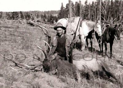 Antique Repro 8X10 Photograph Nice Bull Elk Hunting With Savage Model 99 Rifle