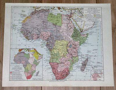 1936 Original Vintage Map Of Africa South Africa Tanganyika Egypt Morocco Sahara