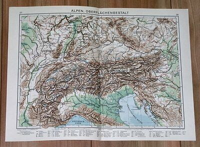 1932 Original Vintage Physical Map Of Alps Italy Switzerland Germany France
