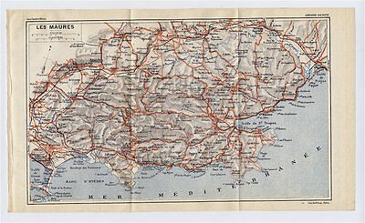 1926 Original Vintage Map Of Vicinity Of Saint-Tropez French Riviera France