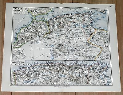 1905 Original Antique Map Of Northern Africa Morocco Algeria Tunisia