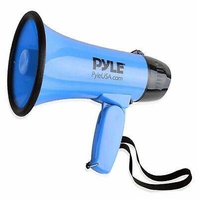 Pyle PMP31BL Portable Megaphone Speaker Siren Bullhorn Compact and Battery Operated with 30 Watt Power PA Sound and Foldable Handle for Cheerleading and Police Use Microphone 2 Modes Blue