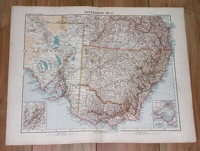 1905 Antique Map Of South / Southeastern Australia / New South Wales Victoria