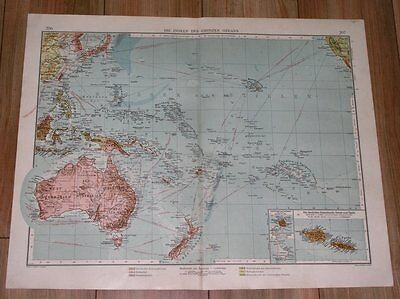 1905 Original Antique Map Australia Oceania Pacific Guam Hawaii German Colonies