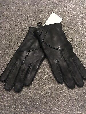 New Women Genuine Leather Black Gloves Fully Lined Size Small snug fitting glove
