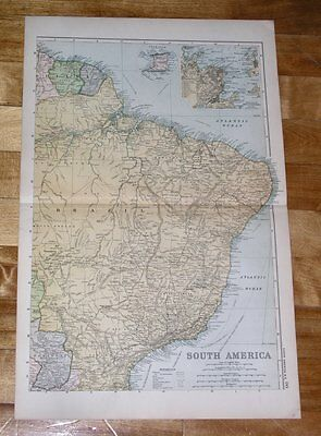 1909 Map South America Northern Part Inset Rio De Janeiro Brazil