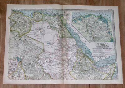 1911 Original Antique Map Of Egypt Sudan Ethiopia Abyssinia Djibouti Africa