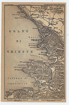 1903 Original Antique Map Of Vicinty Of Trieste Austro-Hungarian Empire Italy